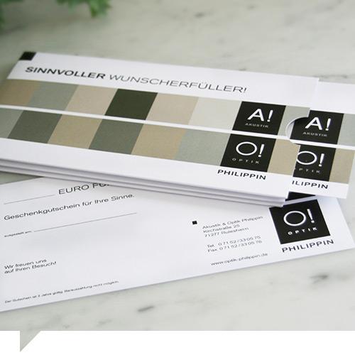 grafik design gutschein mit schuber akustik und optik philippin rutesheim