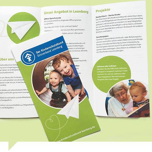 flyer gestaltung grafik design der kinderschutzbund leonberg